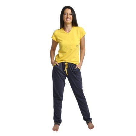 Pijama Longo Adulto Feminino Blusa Amarela E Calça Tons Jeans