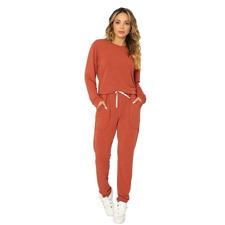 Pijama Longo Adulto Feminino Moletinho Blusa e Calça Marrom