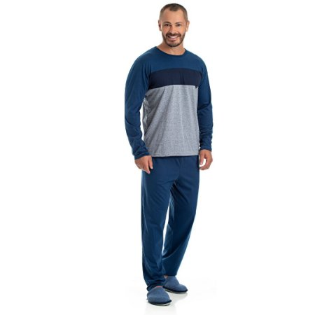 Pijama Longo Adulto Masculino Blusa Degrade Cores e Calça Lisa