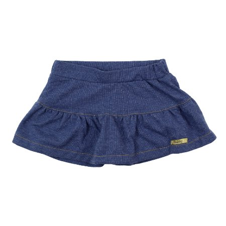 Saia com Shorts Algodão Modelo Jeans Azul