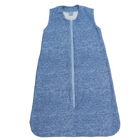 Saco de Dormir Baby Moletinho Algodão Ziper Invertido Azul