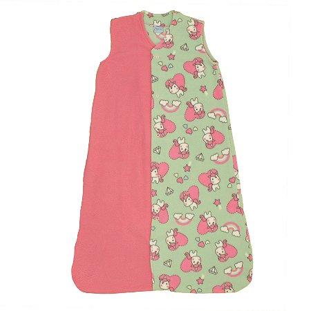 Saco de Dormir Baby Soft Unicórnio Pink Botão De 1 até 12 Meses