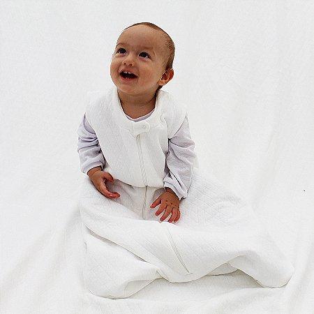 Saco de Dormir Baby Matelasse Branco Ziper De 1 até 12 Meses
