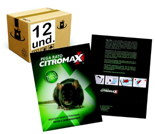 RATOEIRA ADESIVA CARTELA PAPELÃO COLA PEGA RATO CITROMAX Display - CX 12un