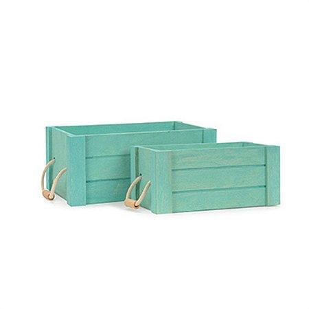 Jogo com 2 Caixas de Madeira Azul Claro com Alças
