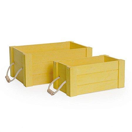 Jogo com 2 Caixas de Madeira Amarelo com Alças