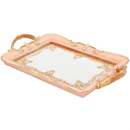Bandeja em Poliresina com Espelho (35x22cm) Rosa