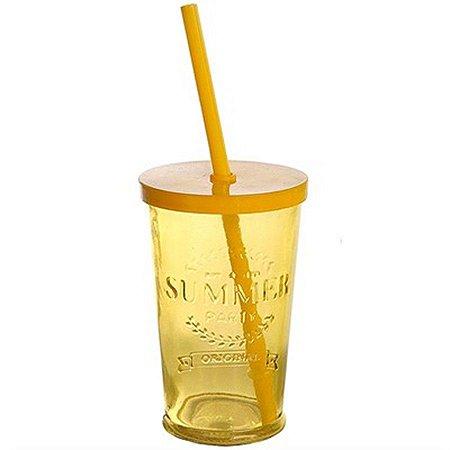 Copo de Vidro com Tampa e Canudo - 240 ml - Amarelo