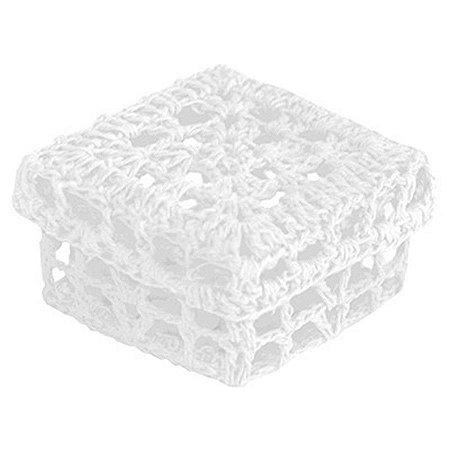 Mini Caixinha Quadrada de Crochê para Lembrancinha - Branca