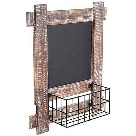 Lousa Quadrada com Cestinha para Decoração - 30,5 x 38 cm