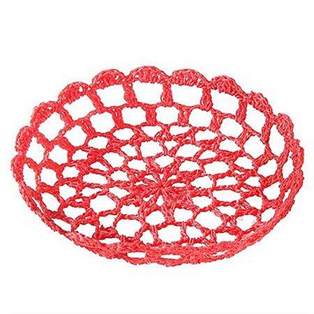 Bandeja Redonda Pequena em Crochê para Decoração - Vermelha