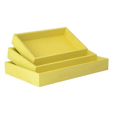 Kit de Suporte Retangular Amarelo para Decoração - 3 peças