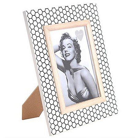 Porta-Retrato - Design Geométrico Dourado - 19 x 24 cm