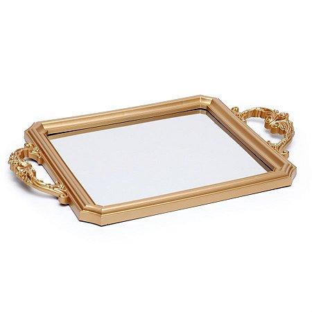 Bandeja Decorativa Espelho Ouro 29X24X5  - 2 Unidades