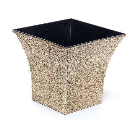 Vaso Decorativo Quadrado Dourado 12X7,5X11  - 2 Unidades