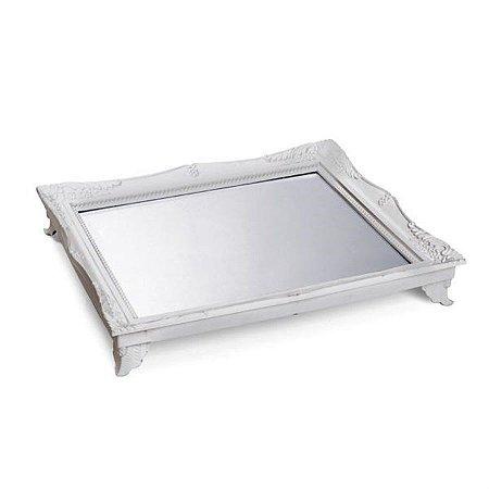 x Bandeja com Espelho Prata 29,5x24,5x4,5 - 2 Unidades