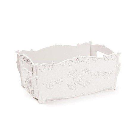Bandeja Decorativa Floral Branco 24x16,5x11,5 - 2 Unidades