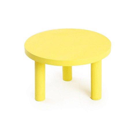 Banquinho de Madeira Amarelo 18x18x10 - 2 Unidades