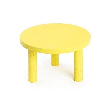 Banquinho de Madeira Amarelo Grande 26x26x17 - 2 Unidades