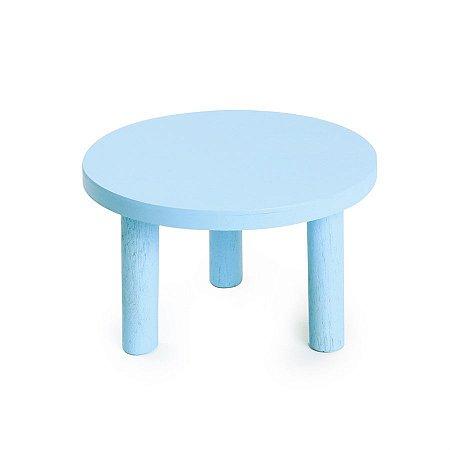 Banquinho de Madeira Azul 18x18x10 - 2 Unidades