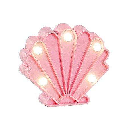 Luminoso Concha do Mar com Led Rosa Claro - 2 Unidades