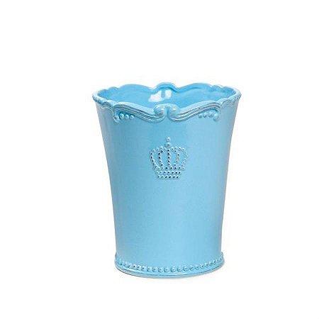 Vaso de Cerâmica Decorativo Azul Grande 13,6x16 - 2 Unidades