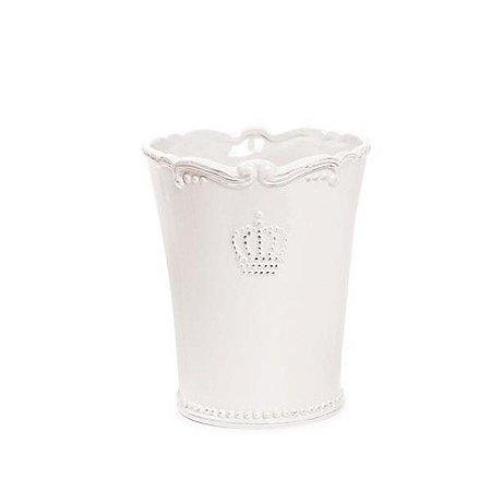 Vaso de Cerâmica Decorativo Branco Grande 13,6x16 - 2 Unidades