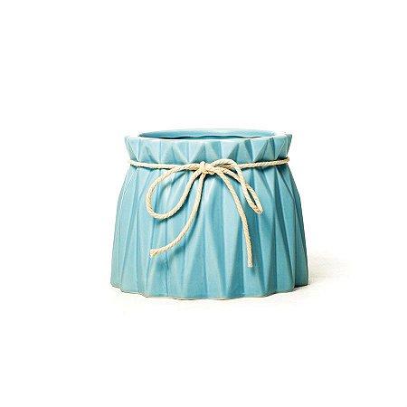 Vaso de Cerâmica Decorativo Sutileza Azul 13x13x10 - 2 Unidades