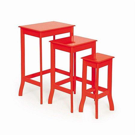 Conjunto de Mesas Quadradas Vermelho - 1 Unidade