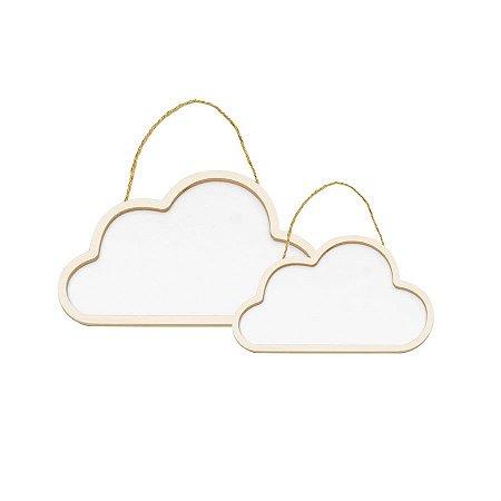 Conjunto Nuvens de Madeira Branca - 1 Unidade