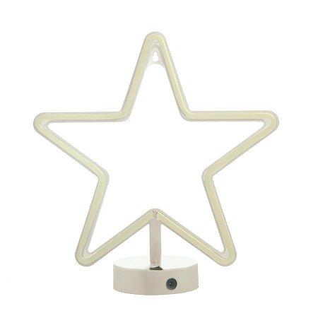 Silhueta de Led Estrela Branca 28,5x10x30,5 - 1 Unidade