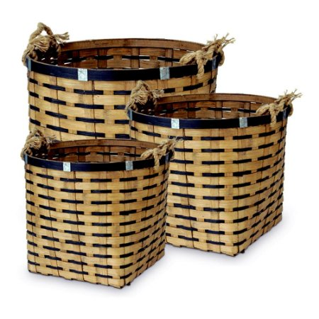 Cesto em Bambu de Sisal Balaio P/M/G (kit com 3 cestos)