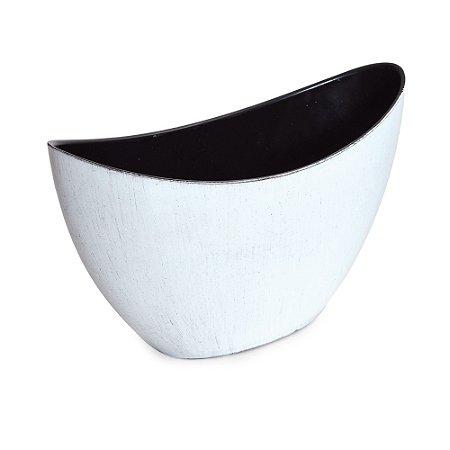 Base Canoa Plástico Branco Preto PP