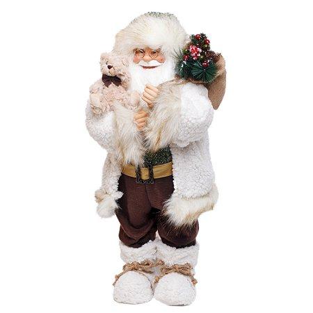 Noel com Saco de Presente Marrom e Branco e Verde M - 1 Unidade