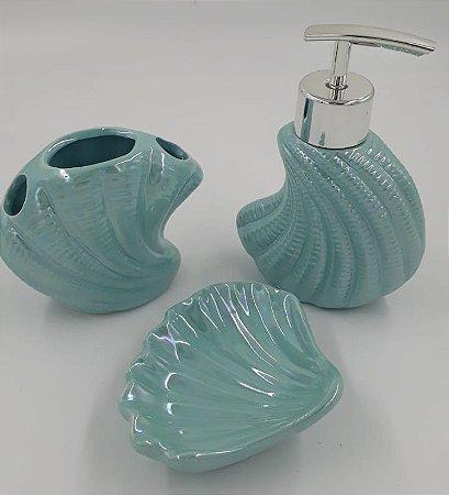 Kit para Banheiro 3 Pecas de Ceramica Ariel Pearl