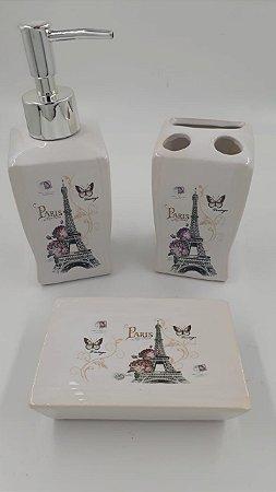 Kit Para Banheiro Com 3 Pecas De Porcelana Paris