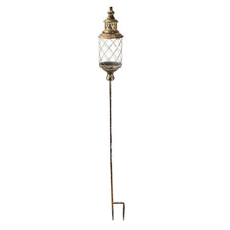 Lanterna de Metal de Vidro Jardim