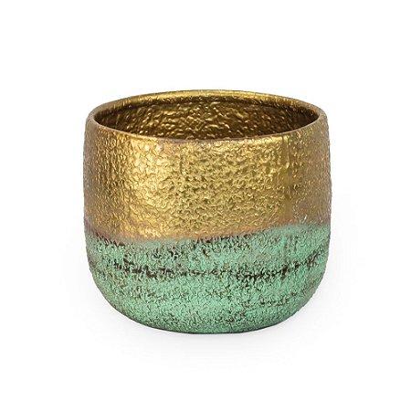 Vaso de Ferro Verde Dourado