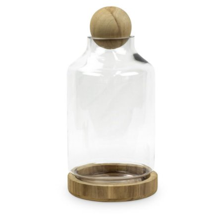Cúpula de Vidro com Base Bola em Madeira M