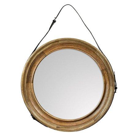 Espelho em Madeira Natural Alça Couro