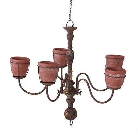 Lustre de Metal Floral Envelehcido com 5 Vasos Cim