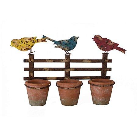 Jardineira de Metal Envelhecida com 3 Vasos Cimétricos e Pássaros