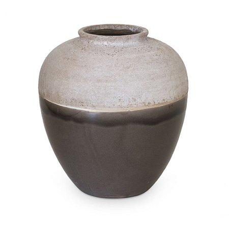 Vaso de Cerâmica com Cônico Marro Branco