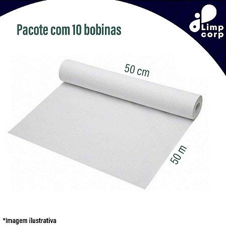 Papel lençol descartável para macas ou cama hospitalar - 6 UNIDADES DE 50 cm x 50m