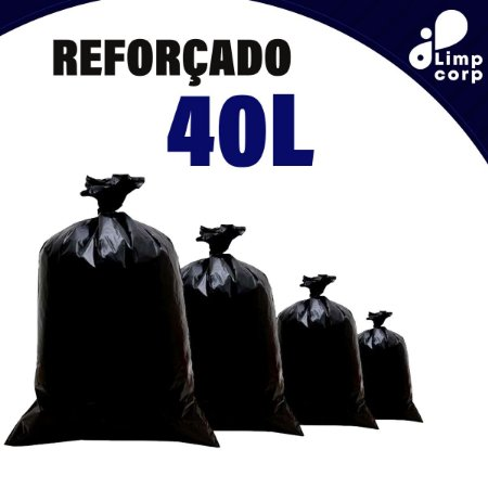 Saco para Lixo - 40 Litros - Reforçado - 100 unidades