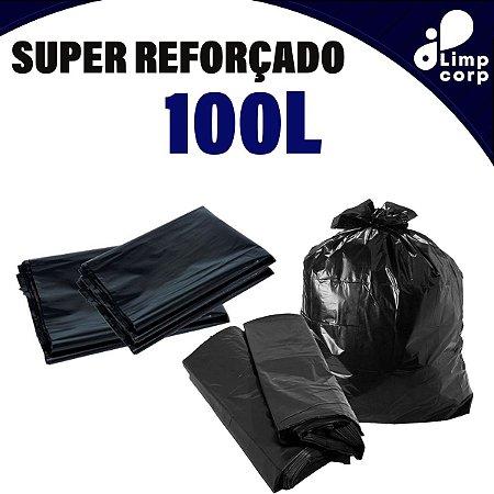 Saco para Lixo - 100 Litros - Super Reforçado - 100 unidades