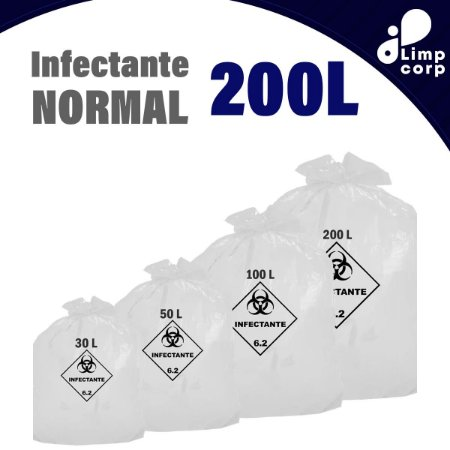 Saco para lixo infectante - Normal - 200 Litros - 100 unidades