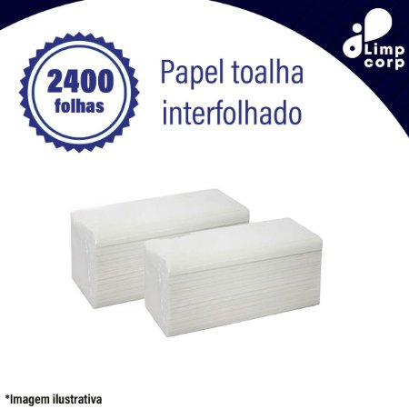 Papel toalha interfolhado - 2400 mil folhas celulose