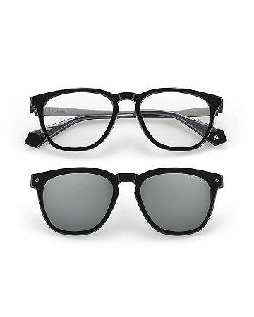 Óculos Polaroid com clip on PLD 6080/G/CS 08A99 Preto com metal
