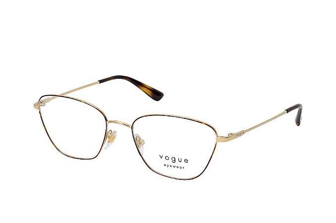 Óculos Feminino Vogue vo 4163 5078 Metal dourado com detalhe tartaruga